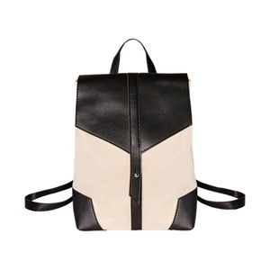 Handbags - Canvas Vegan Leather Backpack